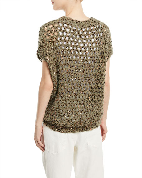 Crewneck Cap-Sleeve Wool Netted Top with Macro-Paillettes