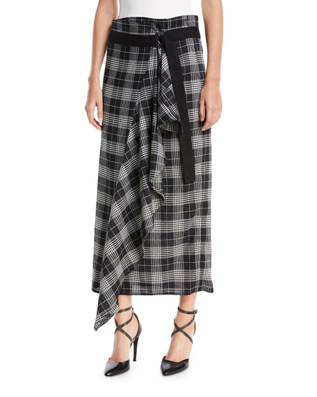 Brunello Cucinelli Prince of Wales Check Wrap Skirt