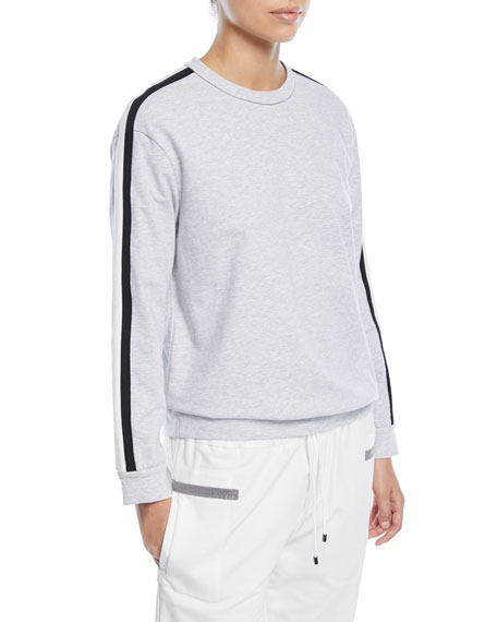 Brunello Cucinelli Crewneck Long-Sleeve Sweatshirt with Varsity