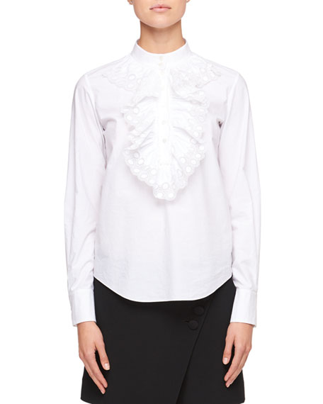 Chloe Mock-Neck Long-Sleeve Poplin Shirt with Ruffled Trim
