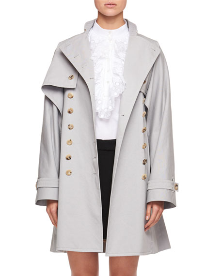 Double-Breasted Gabardine Trench Coat Converts to Vest