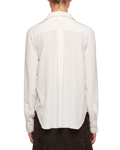 Button-Front Long-Sleeve Crepe de Chine Shirt w/ Lace Insets