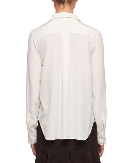 Button-Front Long-Sleeve Crepe de Chine Shirt w/ Lace Insets