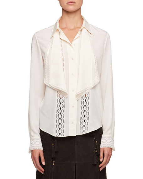 Chloe Button-Front Long-Sleeve Crepe de Chine Shirt w/