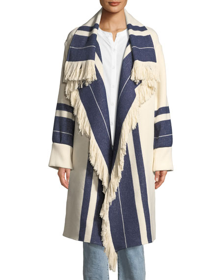 Fringed Striped Cotton-Wool Blanket Coat