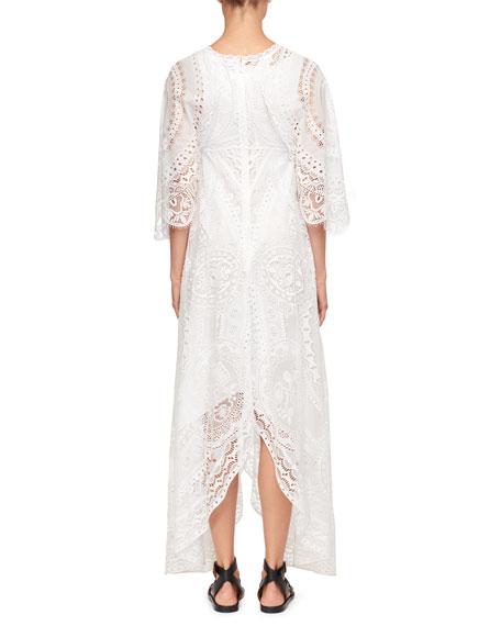Tablecloth Lace Flutter-Sleeve Dress