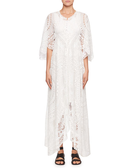 Chloe Tablecloth Lace Flutter-Sleeve Dress