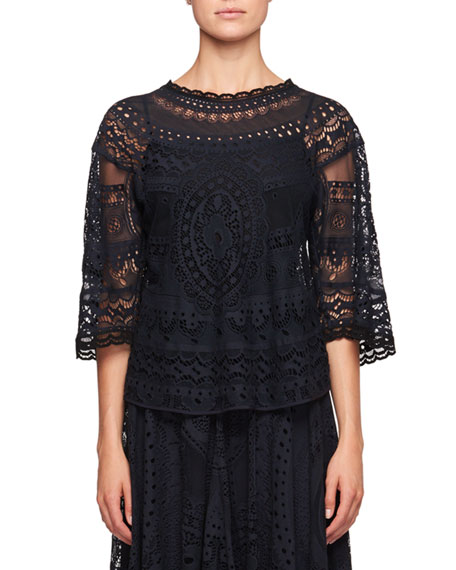 Chloe Tablecloth Lace Elbow-Sleeve Shirt and Matching Items