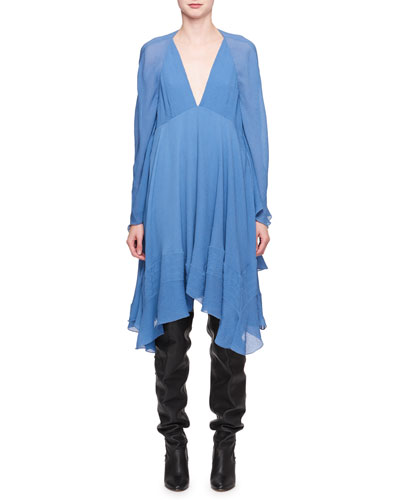 Deep-V Crinkled Silk Cape Dress