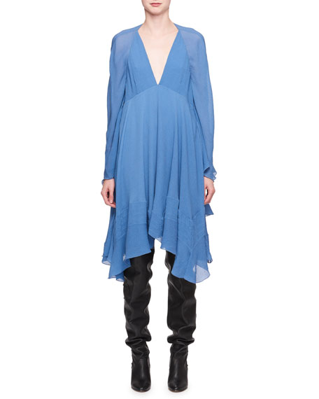 Deep-V Crinkled Silk Cape Dress