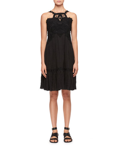 Halter Sleeveless Linen Cheesecloth Crepe Dress w/ Lace Guipure