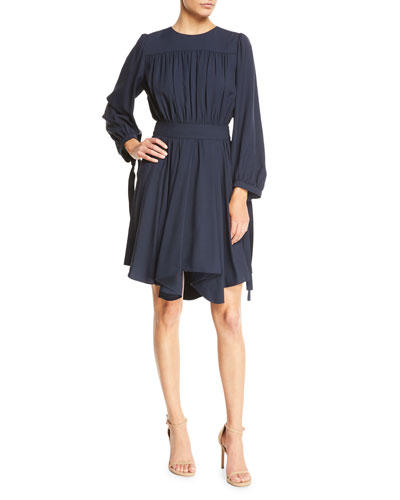 Long-Sleeve Gathered Cady Dress