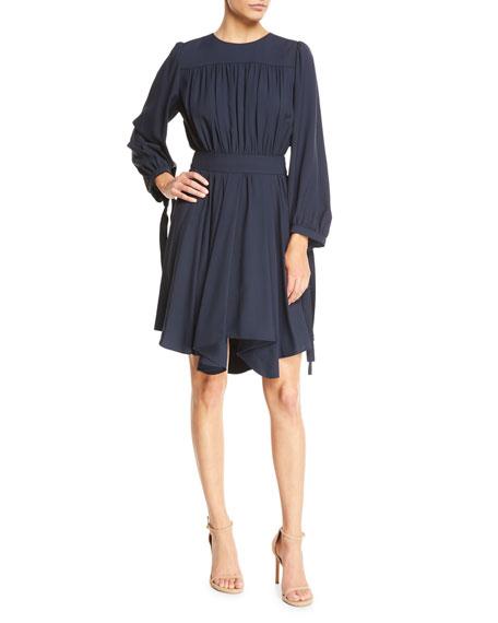 Long-Sleeve Gathered Cady Dress