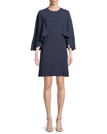 Chloe 3/4-Sleeve Ruffled Crepe Dress
