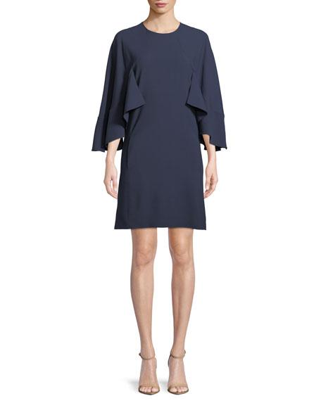 Chloe 3/4-Sleeve Ruffled Crepe Dress