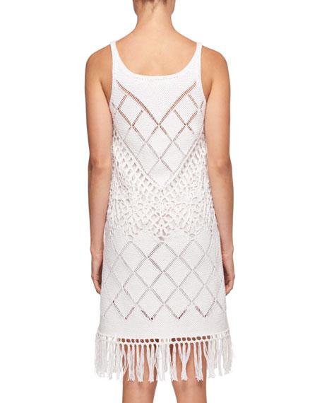 Sleeveless Scoop-Neck Crochet-Knit Dress with Fringe-Hem