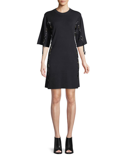 Elbow-Sleeve Wool Lace-Trim Dress