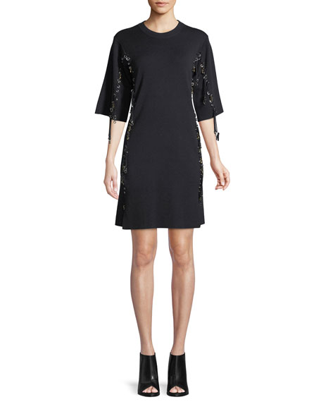 Chloe Elbow-Sleeve Wool Lace-Trim Dress