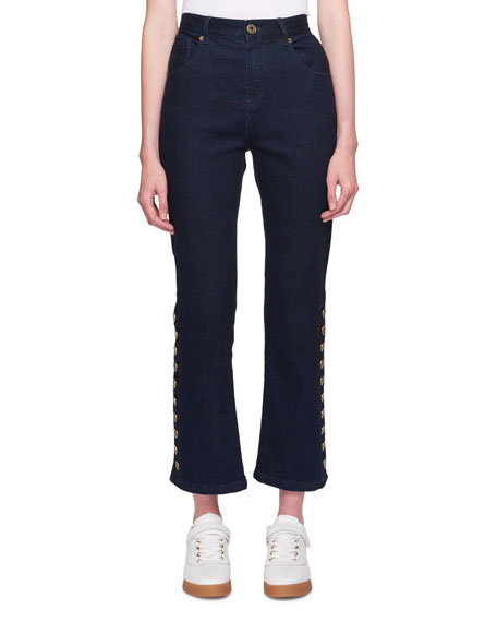 Chloe Five-Pocket Flared-Leg Cropped Jeans w/ Button Trim