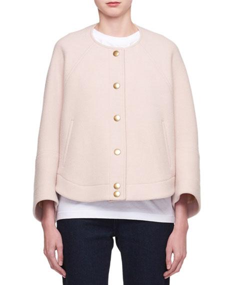 Snap-Front Wool-Blend Short Bomber Coat