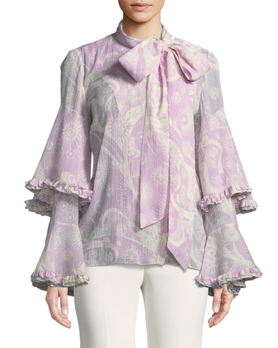 Dotty Flowers-Print Necktie Ruffle-Sleeve Blouse