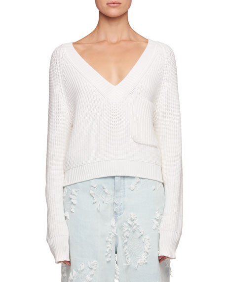 Deep-V Chunky Ribbed Wool Sweater