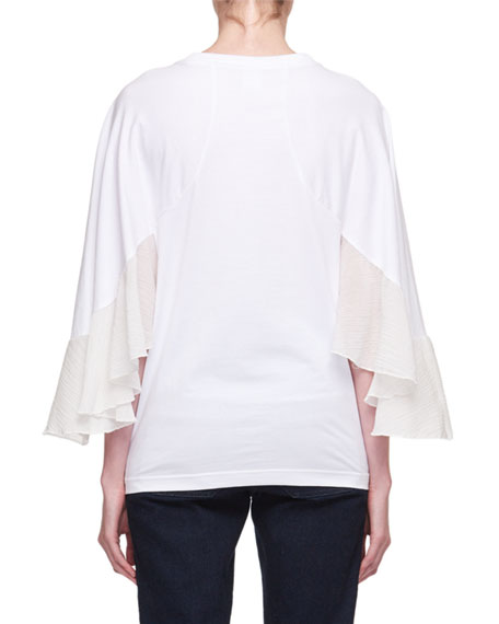 Crewneck Cape-Sleeve Jersey T-Shirt