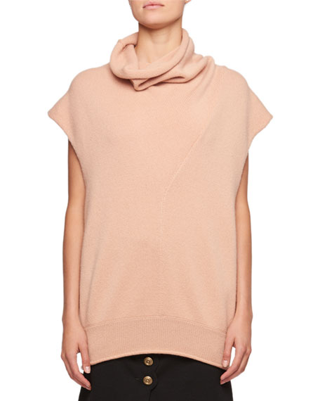 Sleeveless Turtleneck Oversized Cashmere Sweater