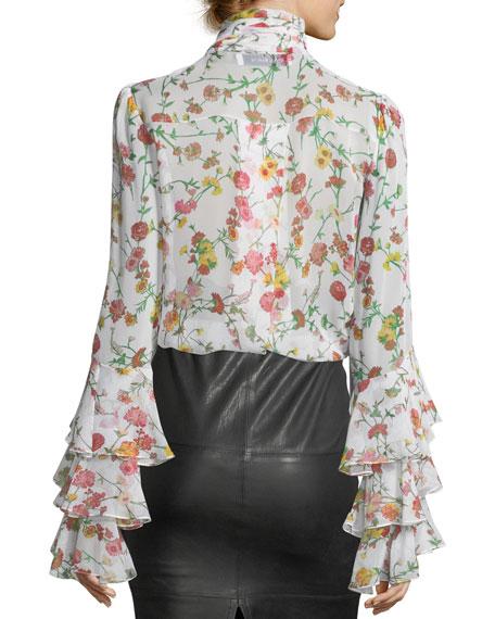 Scarf-Neck Long-Sleeve Floral-Print Silk Blouse