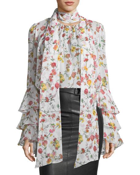 Prabal Gurung Scarf-Neck Long-Sleeve Floral-Print Silk Blouse
