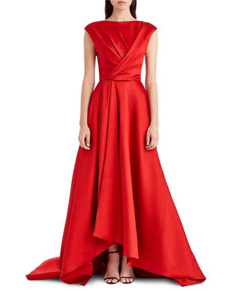 Cap-Sleeve Taffeta High-Low Gown