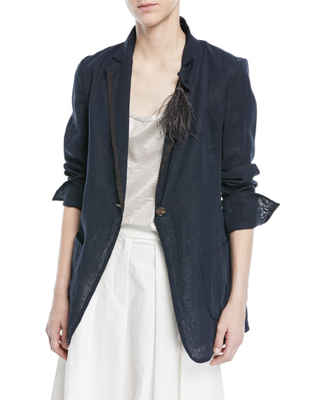 Brunello Cucinelli One-Button Cotton Organza Blazer with Feather