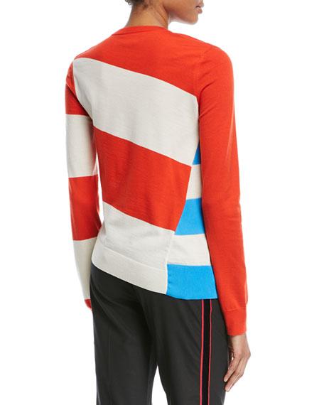 Asymmetric Colorblock Stripe Sweater