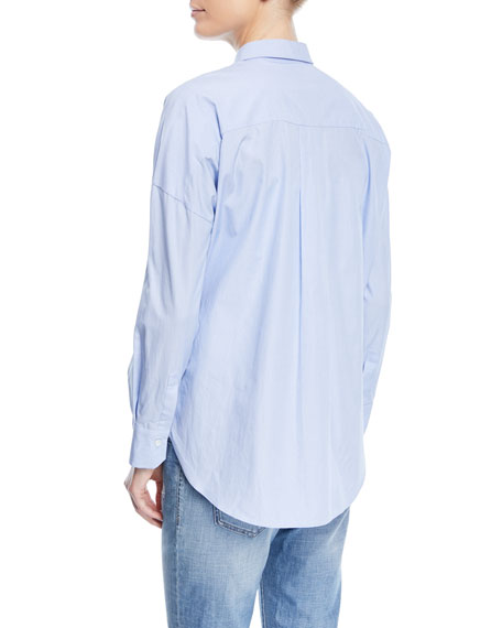 Collared Button-Front Chambray Shirt with Monili Placket