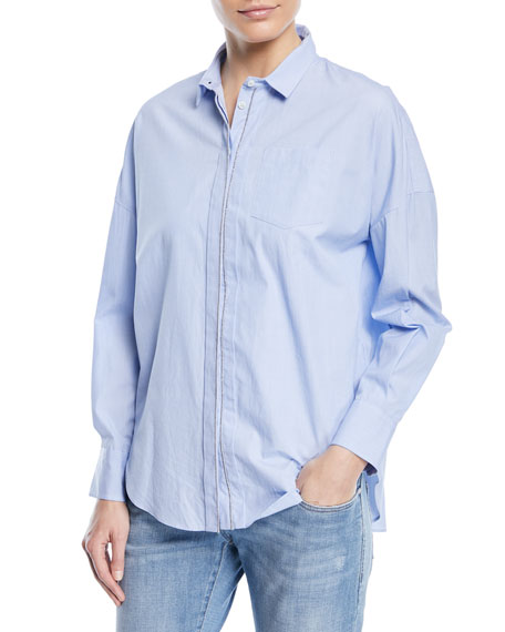 Brunello Cucinelli Collared Button-Front Chambray Shirt with