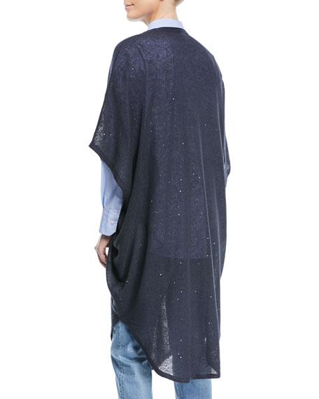 V-Neck Linen Silk Paillette Long Tunic Poncho