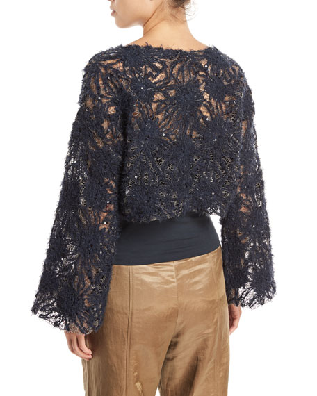 Artisan Round-Neck Bell-Sleeve Blouse with Tube Top