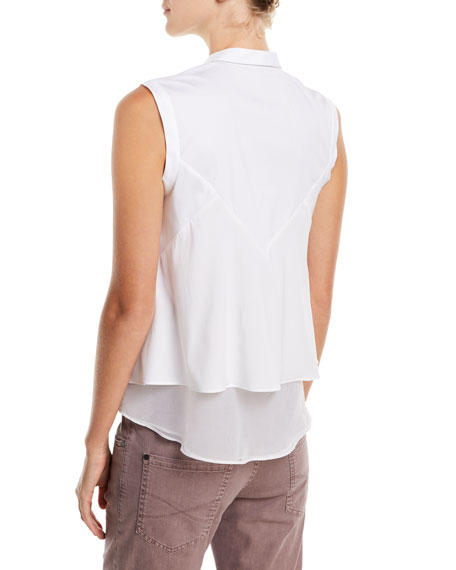 Cotton Poplin Sleeveless Button-Front Blouse with Chiffon Hem