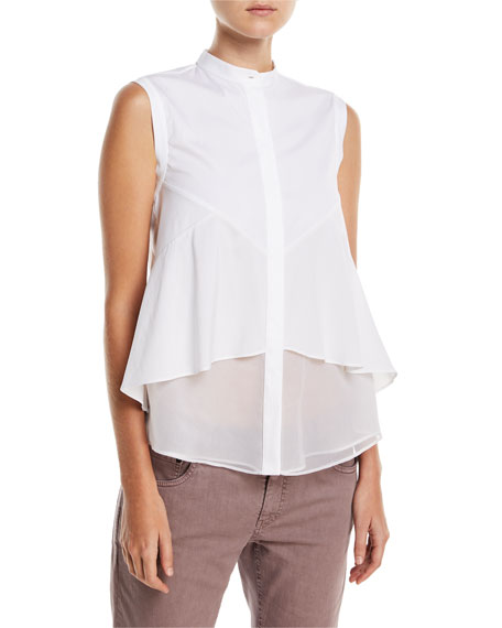 Brunello Cucinelli Cotton Poplin Sleeveless Button-Front Blouse