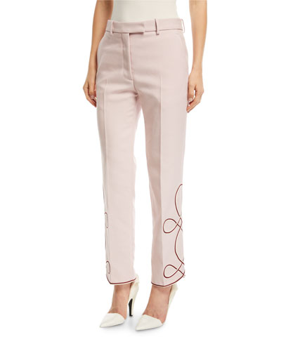Straight-Leg Pants with Embroidered Hem