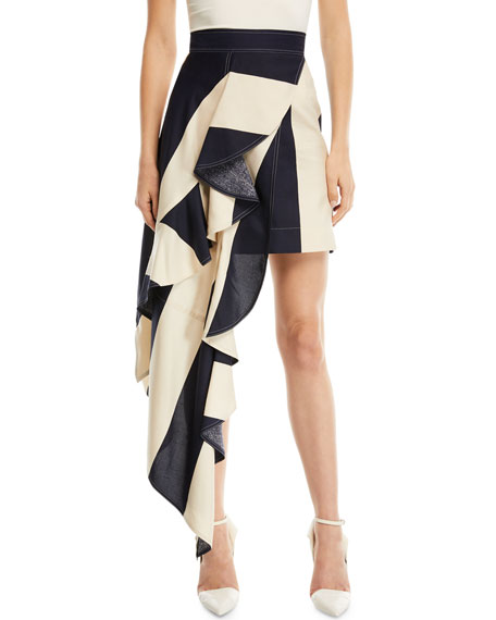 Striped Asymmetric Ruffled-Frill Silk Skirt