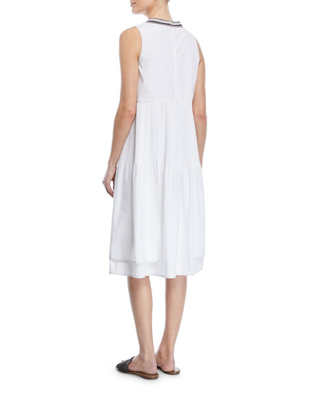 Sleeveless Cotton Dress with Plisse Center & Metallic Band