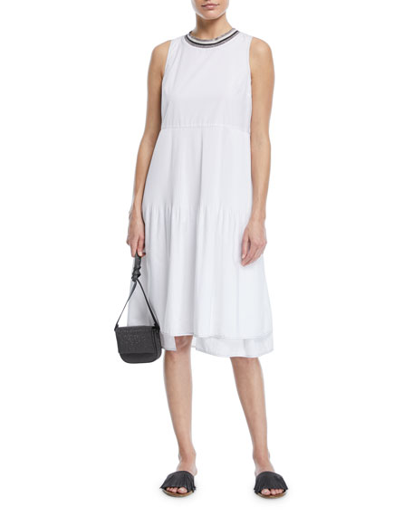 Brunello Cucinelli Sleeveless Cotton Dress with Plisse Center