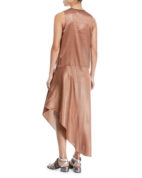 V-Neck Sleeveless Laminated Silk Dress with Asymmetric Hem