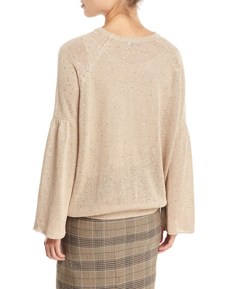 Linen-Silk Crewneck Bell-Sleeve Top with Paillettes