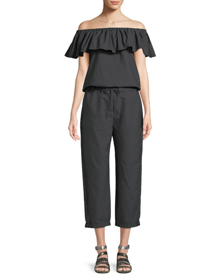 Brunello Cucinelli Off-the-Shoulder Straight-Leg Crinkle Cotton