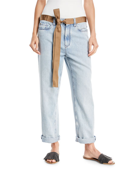 Brunello Cucinelli Mid-Rise Bleached Denim Jeans with Ribbon