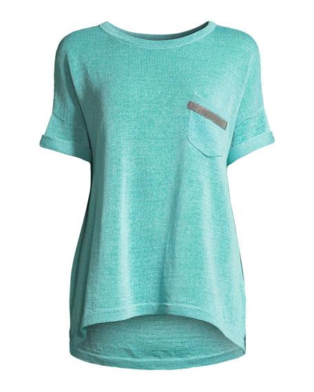 Crewneck Short-Sleeve Cotton T-Shirt with Monili Pocket