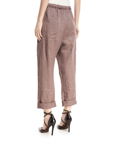 Straight-Leg Utility Denim Pants with Contrast Topstitching