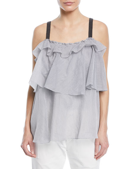 Brunello Cucinelli Cotton Voile Microstripe Tiered Top with